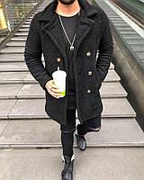 Мужское зимние пальто на овчине теплое черное d916a9b8068bd