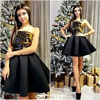 9eeb643b3863324 Платье нарядное в стиле baby doll с открытыми плечами пайетки и пышная юбка  неопрен Smn2902