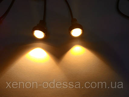 "Яркие DRL линзы ""Орлиный Глаз"" COB LED EAGLE EYE 23мм 3W (Желтый), фото 2"