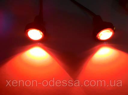 "Яркие DRL линзы ""Орлиный Глаз"" COB LED EAGLE EYE 23мм 3W (Красный), фото 2"