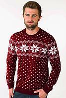 Свитер Рождественский со звездами мужской Бордовый, XL