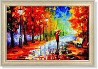 """Репродукция  современной картины """"Дождь, парк, красный зонт"""""""