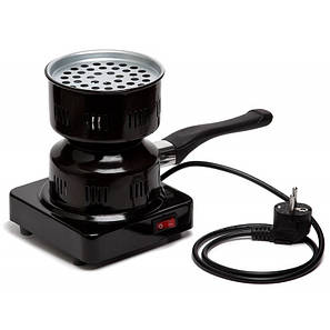 Электроплитка чёрная 1000ВТ с предохранителем, фото 2