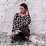 Женский свитер свободного кроя с актуальным леопардовым принтом (3 цвета), фото 5