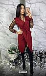Женское платье на запах с рукавами сеткой (3 цвета), фото 3