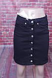 Джинсова спідниця Zeo Basic на гудзиках спереду чорного кольору, фото 3