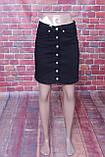 Джинсова спідниця Zeo Basic на гудзиках спереду чорного кольору, фото 2