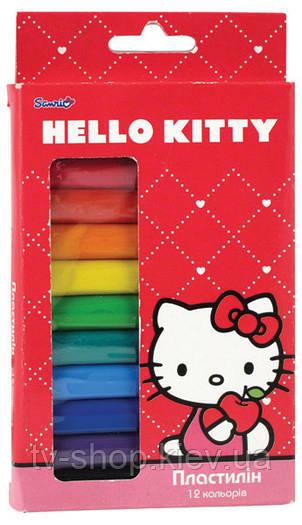 Пластилин мягкий 12 цветов, Hello Kitty,Princess