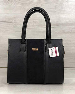 Каркасная женская сумка Селин черного цвета со вставкой черный замш