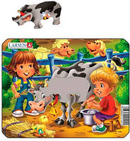 Пазл рамка-вкладыш Дети и корова, серия Мини, Larsen, Дояр (Z11 (1-4)-3)
