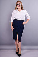 Рита. Комбинированная юбка больших размеров. Синий.