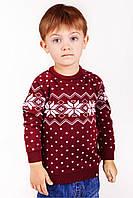 Свитер Рождественский со звездами детский Бордовый, 128