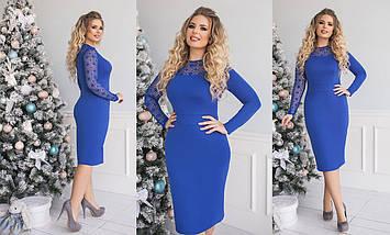 """Облегающее комбинированное миди-платье """"Vanessa"""" с кружевом (большие размеры), фото 2"""