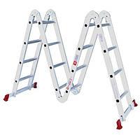 LT-0029 Лестница алюминиевая трансформер 4*4ступ + Подарок: VT-1048 Отвертка реверсионная с комплектом насадок INTERTOOL LT-0029.A