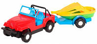 Авто джип с прицепом и лодочкой машинка Wader (39007-3)