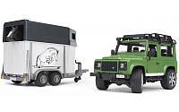 Игрушка - джип Land Rover Defender с прицепом для перевозки лошадей + лошадка М1:16 BRUDER (02592)