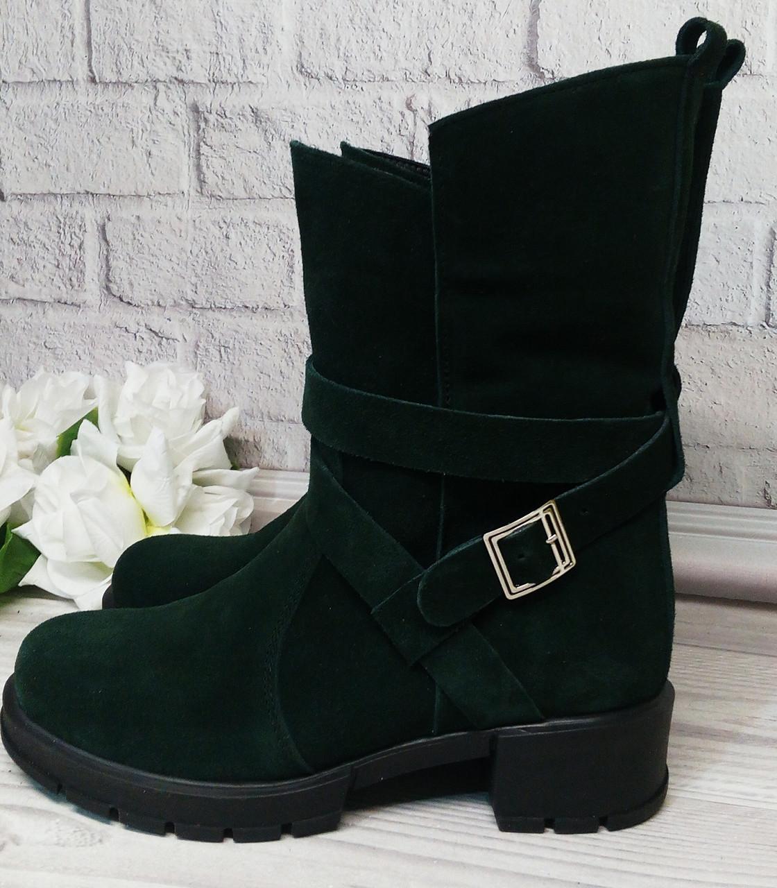 Замшеві зелені черевики від виробника