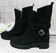 Женские ботинки на каблуке, натуральный нубук, фото 1