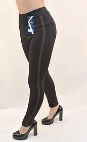 Лосины женские на флисовой подкладке с широкой полосой и задними карманами