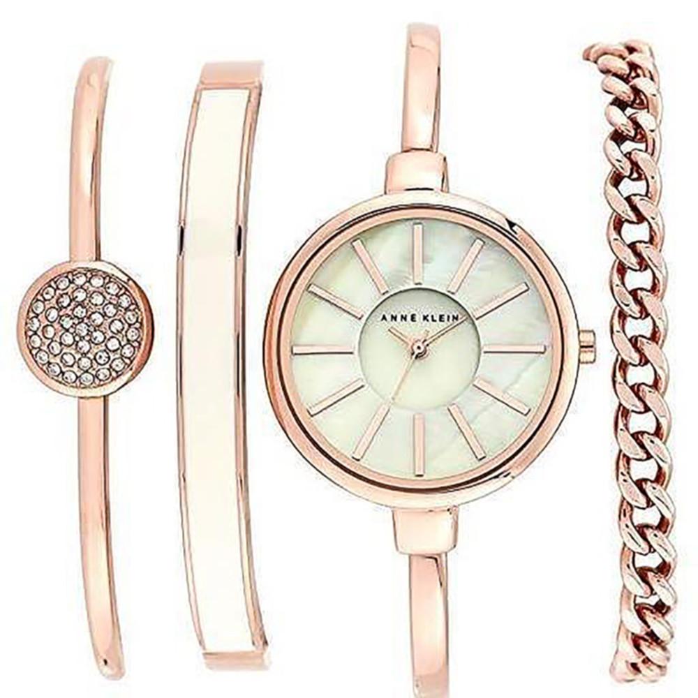 Часы в подарочной упаковке watch set AK gold white ANNE KLEIN + ПОДАРОК: Держатель для телефонa L-301