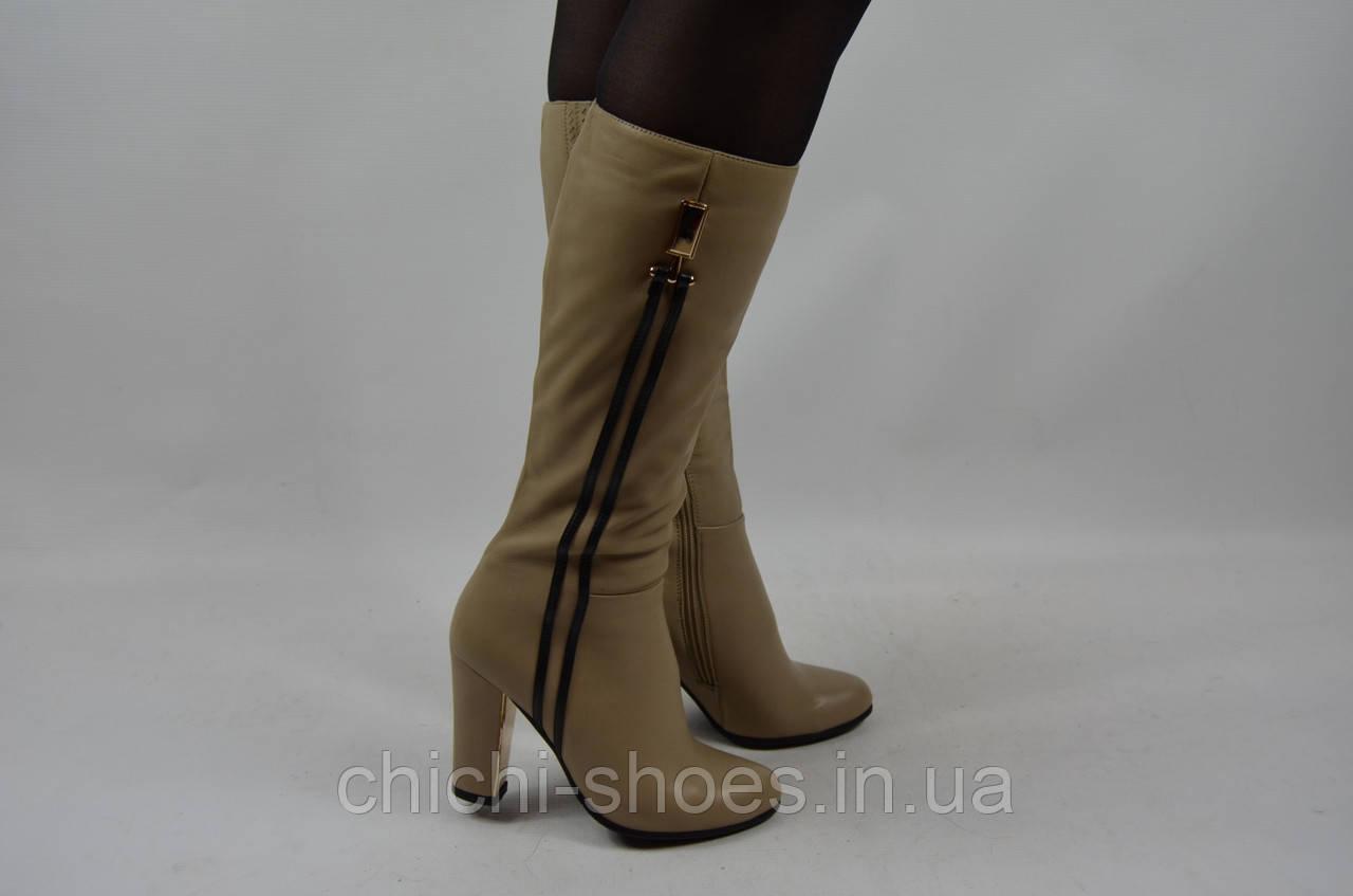 Сапоги женские демисезонные Beletta 116-802 бежевые кожа каблук