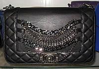 Женская сумка клатч Chanel Boy (Шанель Бой) 1562 черный с цепями