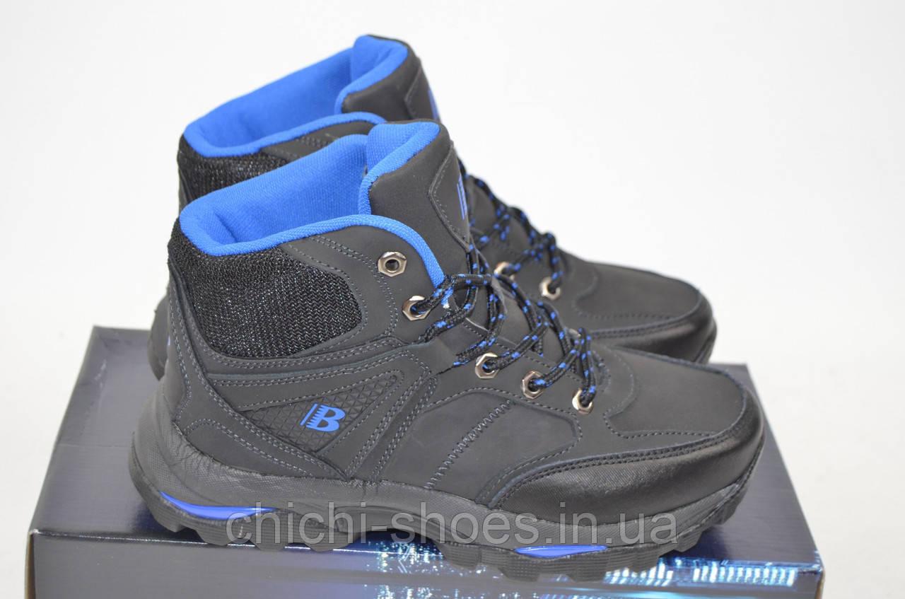 Ботинки подростковые зимние спортивные Bona 694Л-2-6 чёрные нубук