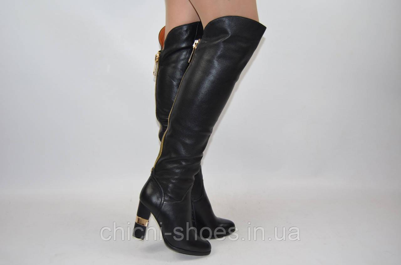 Сапоги-ботфорты женские зимние Mallanee 6262 чёрные кожа каблук