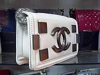 Женская сумка клатч Chanel Boy (Шанель Бой) 30669 белая эко-кожа