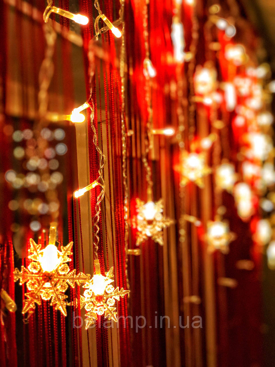 "Новогодняя гирлянда-бахрома на окно «Любимые снежинки"""