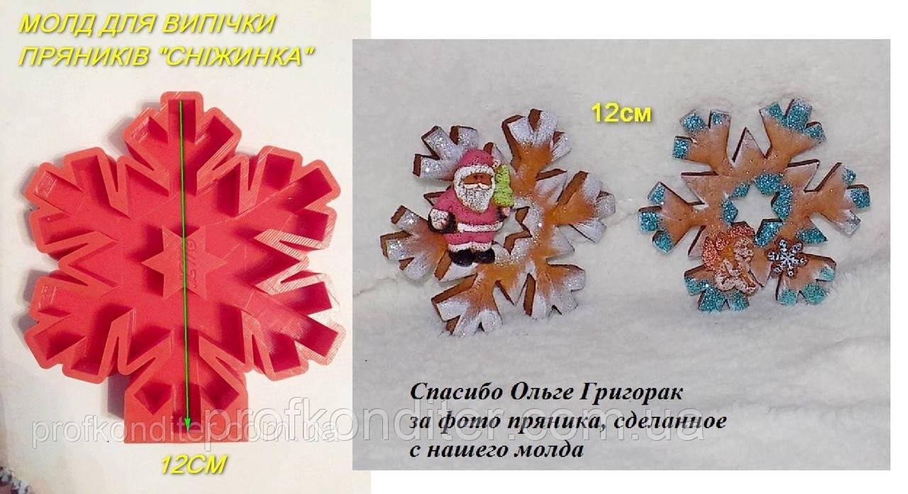 ЭКСКЛЮЗИВ! Силиконовый молд для выпечки пряника Снежинка №2 12 см