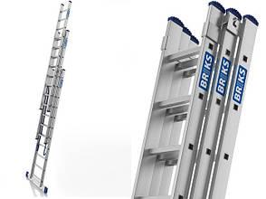 Лестница алюминий 3х9 BRIKS 540 см