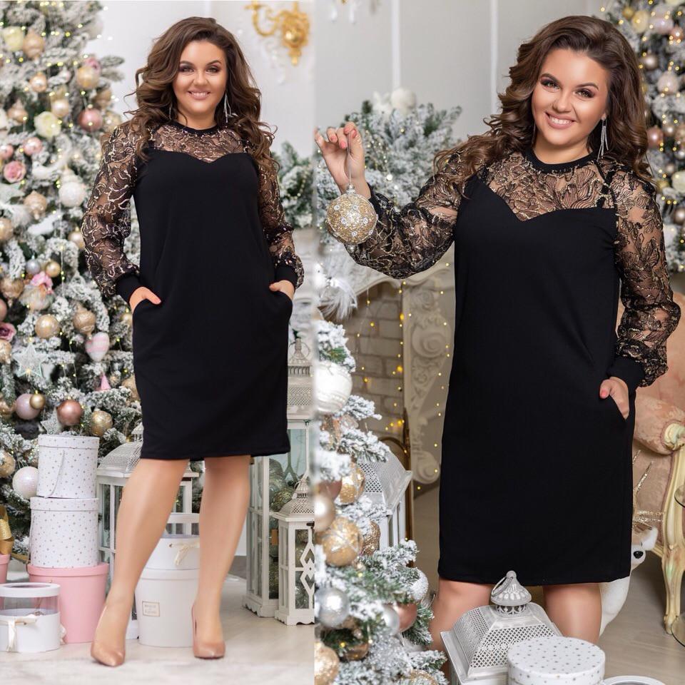 88a095ec4d181b6 Вечернее женское платье батал из креп дайвинга с сеткой : продажа ...