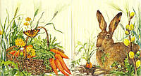 Редкая декупажная салфетка Заяц и корзина с морковкой 4297