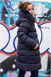 Десткое зимнее пальто на девочку, биопух, с песцом, 28-42