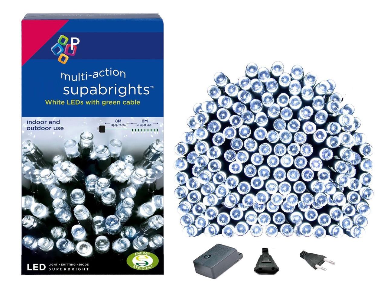 Новогодняя гирлянда 300 LED, IP44, Длина 24 М, Белый холодный свет