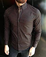 Мужская рубашка   Slim Fit  в мелкий горошек