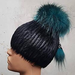 Зимняя женская шапка мех стриженной нутрии