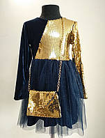 Нарядное пышное платье с паетками для девочек 3-7 лет детское, фото 1