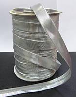 Косая бейка парча, цвет серебро, фото 1