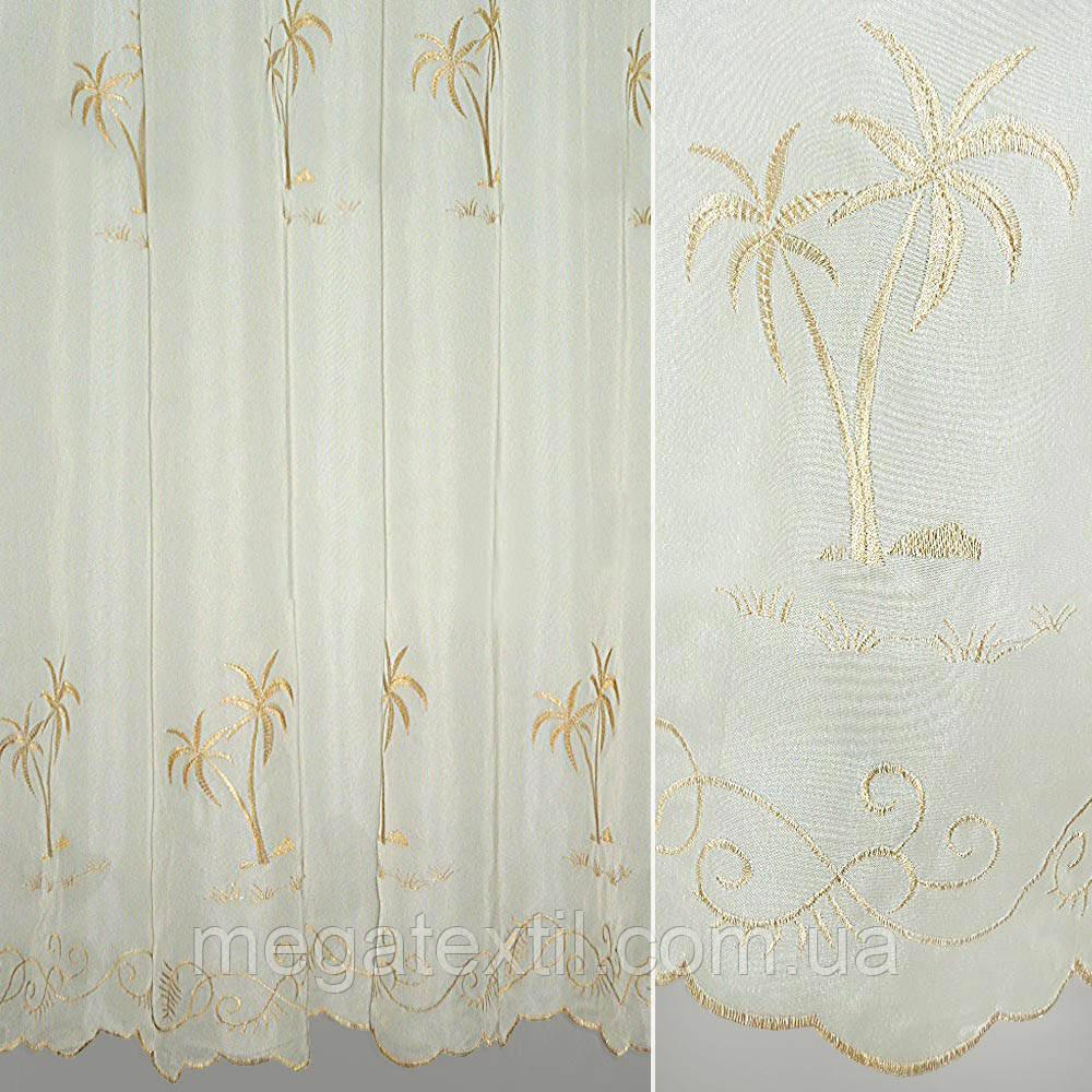 Вуаль молочна з бежевою пальмою (30105.003)
