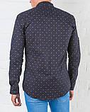 Рубашка   мужская синяя Slim Fit  с принтом, фото 2