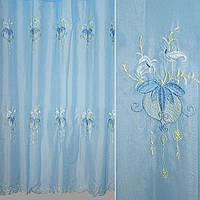 Вуаль блакитна з вишитими квітами ш.280 (30110.001)