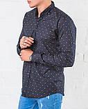 Рубашка   мужская синяя Slim Fit  с принтом, фото 3