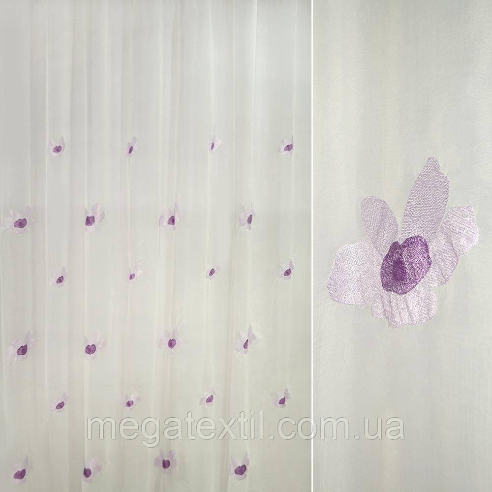 Вуаль креш з вишитими фіолетовими квітками ш 280 (30113.001)