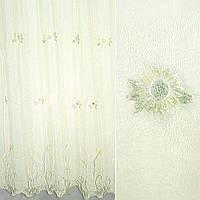 Вуаль креш молочна з вишивкою жовті квіти ш 280 (30114.001)