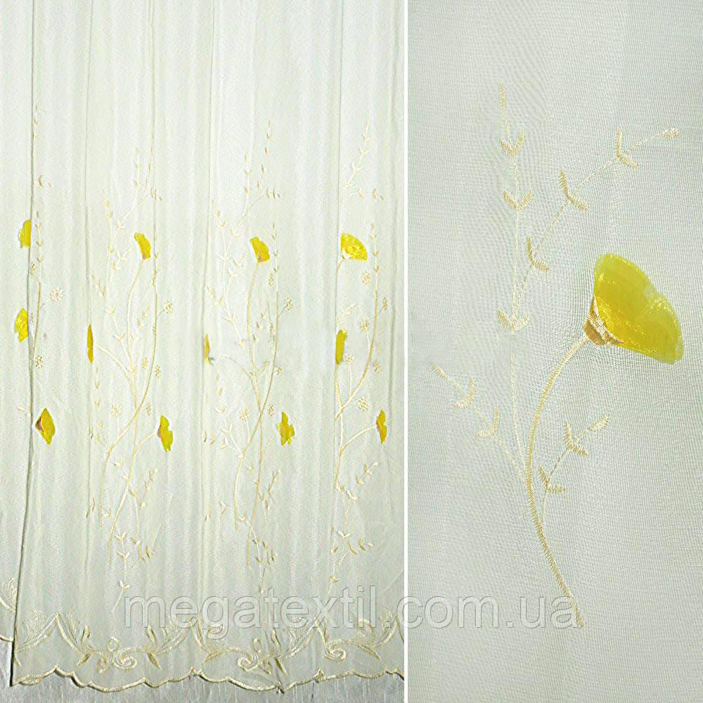 Вуаль кремова з жовтою вишивкою і нашитими квітами (30117.001)