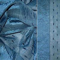 Вуаль креш брудно-синя з атласною смугою і шенилловой ниткою (30134.001)