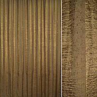 Вуаль креш гірчична темна з атласною і шенилловой смугою (30134.002)