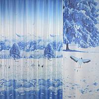 Вуаль фото блакитна зима, птиці ш.270 (30150.003)